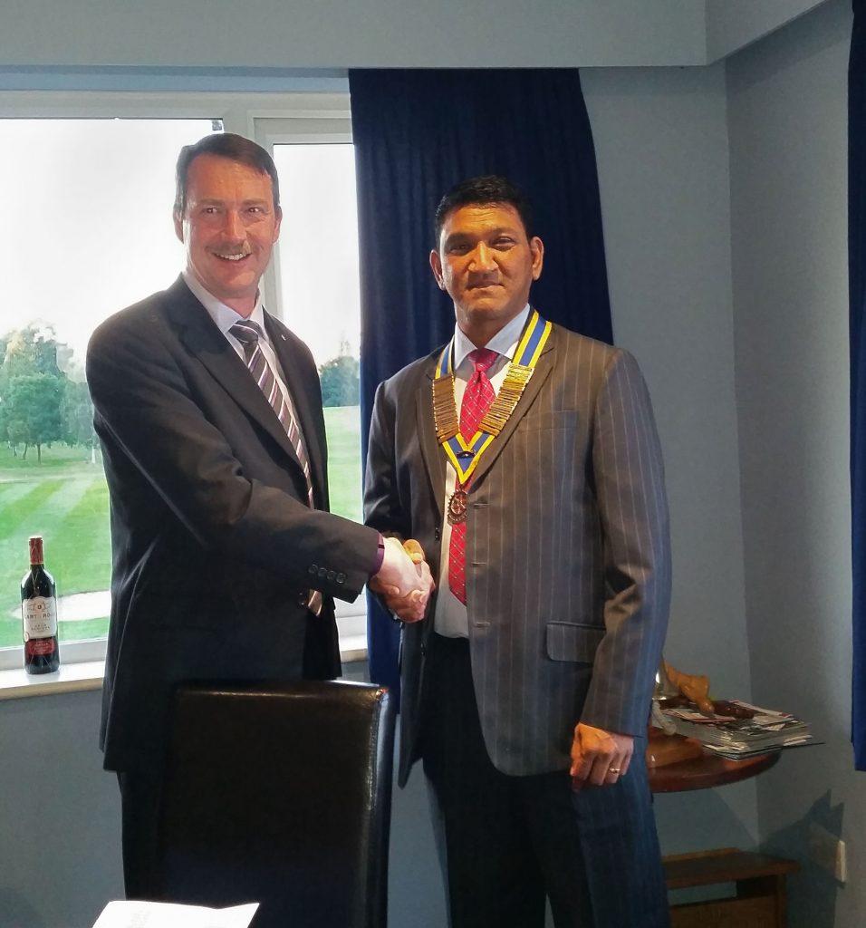 President Handover Mick Marks MBE to Vijay Patel